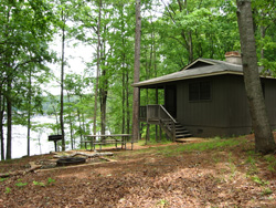 A view of Lake Allatoona and a cottage at Red Top Mountain State Park